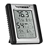 VIVOSUN Digital Indoor Thermometer and Hygrometer with Humidity Guage, Accurate Temperature Humidity Monitor Meter for Home, Office, Greenhouse, Indoor Garden, Button Battery Included