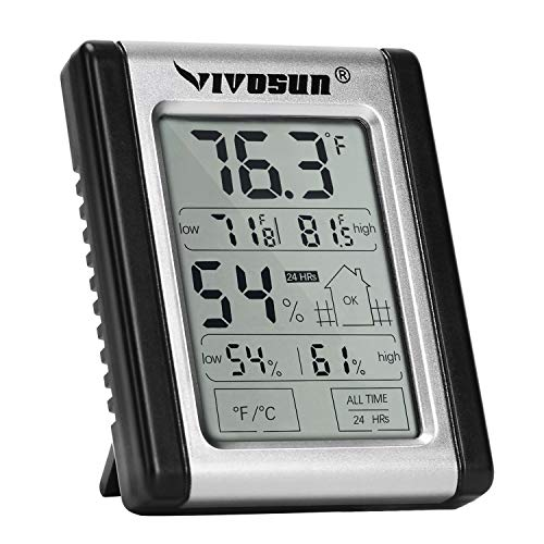 VIVOSUN Digital Indoor Thermometer and Hygrometer with Humidity Gauge; Accurate Temperature / Humidity Monitor Meter for Home, Office, Indoor Garden; Button Battery Included