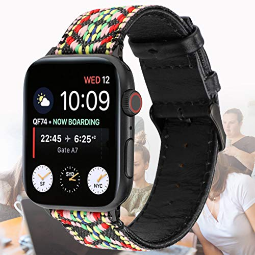 Correa de Cuero Compatible con Apple Watch Strap Pulsera de Repuesto Ajustable clásica para Todas Las Versiones de iWatch Series 6/5/4/3/2/1,40mm