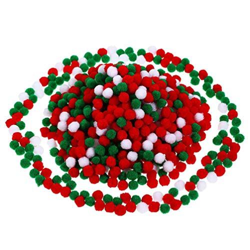 KESYOO 4Packs Christmas Pompom Balls Xmas Pom Poms Ball Plush Ball Garland Decoration Fluffy Balls DIY Crafts Handmades