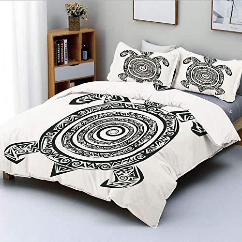 Juego de funda nórdica, estilo de tatuaje maorí, figura de animal marino con forma de espiral tribal, juego de cama de 3 piezas decorativo tropical antiguo con 2 fundas de almohada, blanco y negro, el