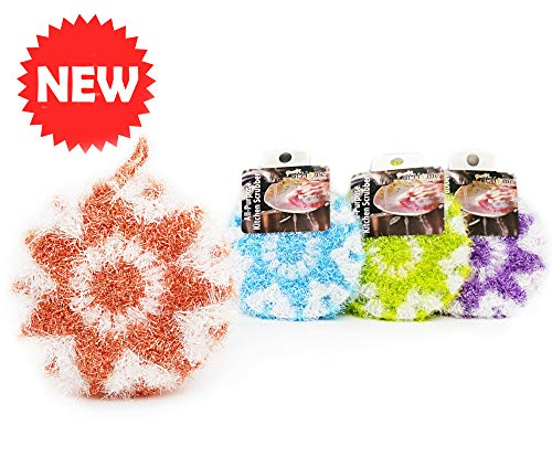 New [Set of 4] Hand Crochet Non-Scratch Dish Scrubber| Double Layered Durable Dish Cloth| 4X Fast Dry, No-Odor Cleaning Sponge| 100% Recyclable Eco-Friendly Dish Net, Brush (Lollipop Candy Set)