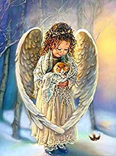 WOMGD® 1000 stukjes legpuzzels, engel klein meisje knuffelen kat houten puzzel, creatieve diy vrije tijd spellen uitdaging kunst speelgoed voor volwassenen