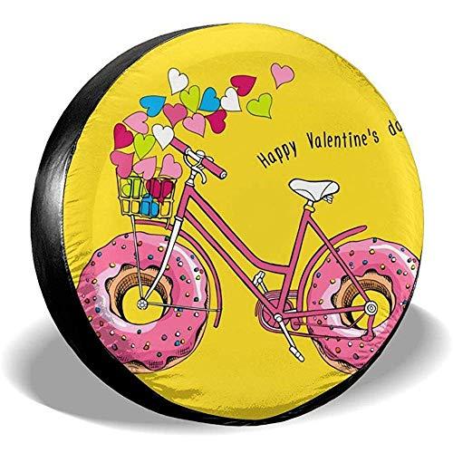Niet geschikt voor Valentijnsdag fiets met een roze donut universele reserveafdekking voor Jeep Trailer SUV RV vrachtwagen fiets accessoires 14in/60~69cm 1