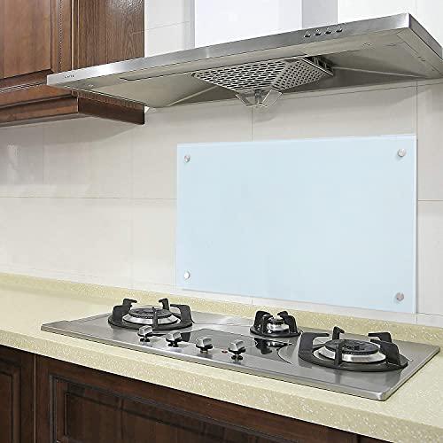 EINFEBEN Küche Spritzschutz, Glasrückwand für Küche, Herd, Fliesen viele Größen, Küchenrückwand Milchglas, Herdblende 50x70 cm
