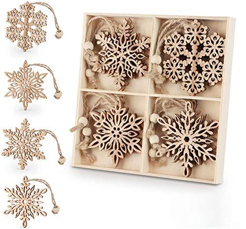 ilauke Weihnachtsanhänger Holz, 12 Stück Weihnachts Hängeornamente Vintage - 7cm Holz-Anhänger Schneeflocken Baumschmuck Weihnachts-Anhänger mit Juteseil für Christbaumanhänger