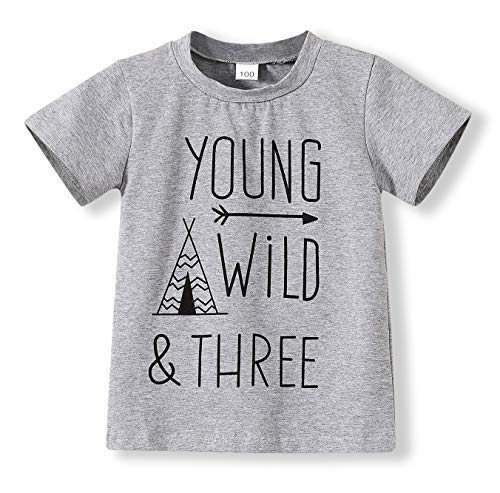 Children Gray Young Wild Three Birthday Brother Twin Letter Print T-Shirts