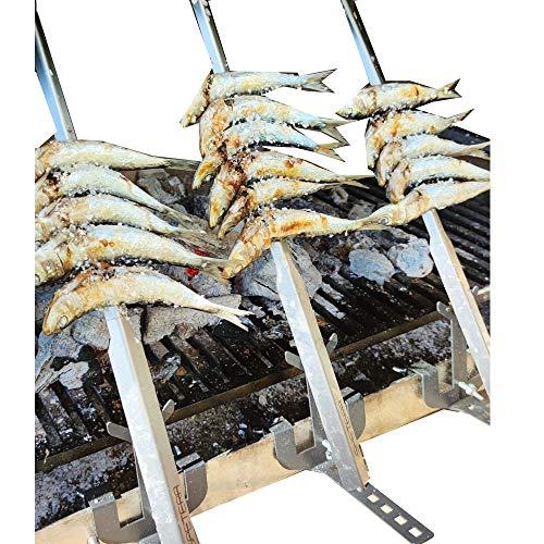 Spetera Soporte para adaptar a Barbacoa Espeto Acero Inoxidable 50cm para Asar Pescados (espetos sardinas, lubina, Dorada) y Carnes espetadas