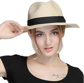 iHomey Women Panama Straw Sun Hat Foldable Wide Brim Fedora Beach Sun Caps