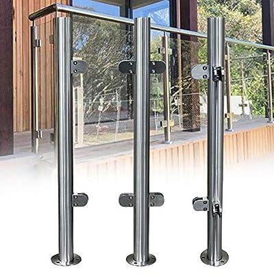 High Glass Balustrade Railing Glazing Stainless Steel Pole Handrail Garden End post