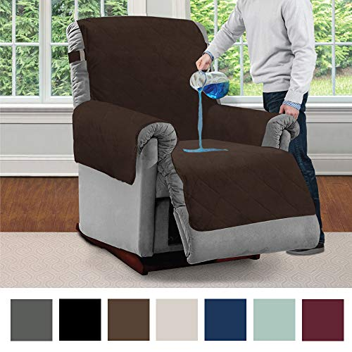 MIGHTY MONKEY Premium Water and Slip Resistant Recliner Slipcover, Seat Width Up to 26 Inch, Absorbs 2 Cups of Water, Oeko Tex Certified, Suede-Like, Cover for Recliners, Recliner, Chocolate