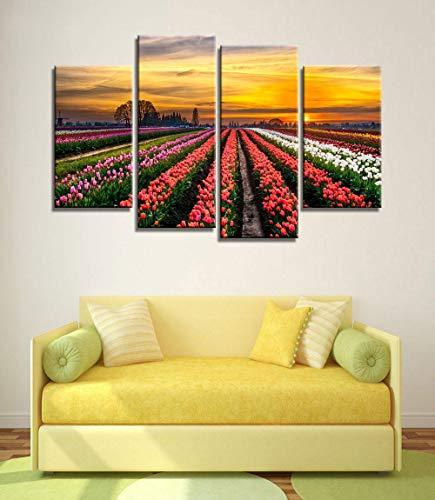 ANTAIBM® 4 Visuelle Fotos der Inneneinrichtung Holzrahmen - verschiedene Größen - verschiedene Stile4 Stück drucken Plakat Leinwand Wandkunst rosa Blumen Dekoration Kunst Ölgemälde Modulare Bilder an
