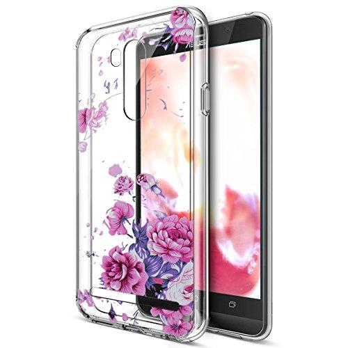 Kompatibel mit Schutzhülle Asus Zenfone Go TV ZB551KL Hülle Handyhülle,Bunte Gemalte Mandala Blumen Transparent TPU Silikon Handyhülle Tasche Hülle Durchsichtig Schutzhülle,Lavendel Pfingstrose Blumen