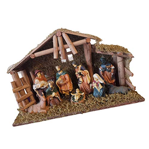 sympuk Belén de Navidad, Pesebre de la Sagrada Familia, Pesebre Escena de Navidad Decoraciones de Navidad iluminado Escena de Pesebre