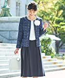 nissen(ニッセン) スーツ レディース セット (ツイード調 ノーカラー ジャケット スカート) 卒園式 卒業式 入園式 入学式 ネイビー系+ネイビー M