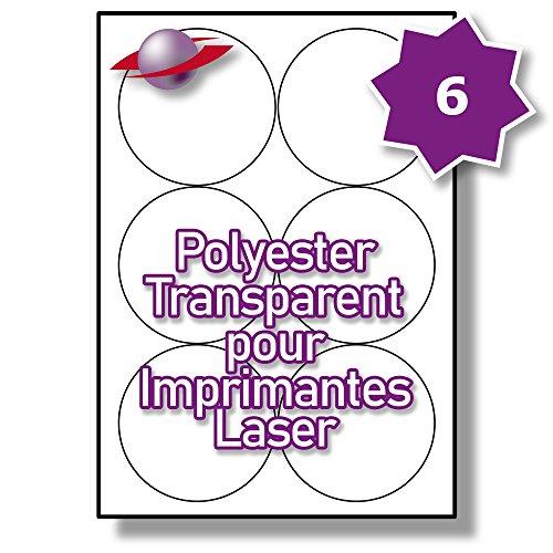 6 Par Feuille, 250 Feuilles, 1500 Étiquettes. Label Planet® Étiquettes Rondes en Polyester Transparent A4 pour Imprimantes Laser 88mm Diamètre , LP6/88 R GTP.