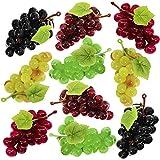 Supla 10 Pack Artificial Grapes Mini Grape Clusters Rubber Grape Bundles Decorative Grapes Bunches in Black Burgundy Red Green 2.5' Long for Vintage Wedding Favor Fruit Wine Décor Faux Fruit Props