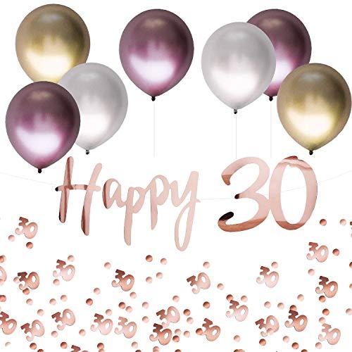 Oblique Unique® 30. Geburtstag Jubiläum Party Feier Deko Set - Happy 30 Girlande + Luftballons im Metallic Look + Konfetti Zahl 30 - Roségold Rosa Gold Silber