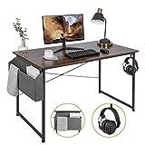 AuAg 47'' Computer Desk Home Office Desk with Storage Bag, Simple Writing Desk Work Desk, Modern Vintage Desk Office Table Sturdy Laptop Desk PC Gaming Desk Home Desk Workstation - Rustic Brown