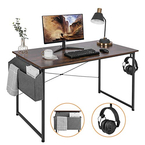 AuAg 47'' Computer Desk Home Office Desk with Storage Bag, Simple Writing Desk Work Desk, Modern Vintage Desk Office Table Sturdy Laptop Desk PC Gaming Desk Home Desk Workstation - Rustic Brown