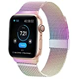QIENGO Compatible for Apple Watch Band 38mm 40mm, Magnetic Stainless Steel Mesh Sport Wristband Loop Compatible with iWatch Series 5 4 3 2 1 Colorful 38/40mm