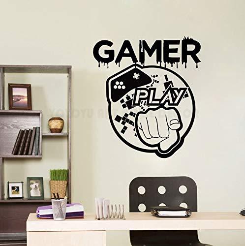 Apliques Juegos de juego Vinilos decorativos Arte Vinilo Gamer Etiqueta de la pared para la habitación de los niños Habitación de juego extraíble Decoración Controlador de juegos Tatuajes d xcm
