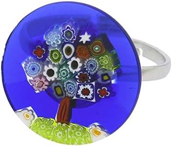 GlassOfVenice Anillo de cristal de Murano Millefiori Árbol de la Vida de 3/4 pulgadas