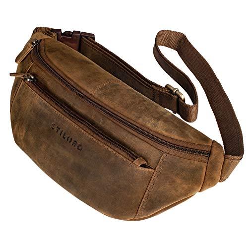 STILORD 'Bryce' fanny pack lederen riemtas dames heren vintage heup tas reistas vakantie jogging festival echt leer, Kleur:middel - bruin