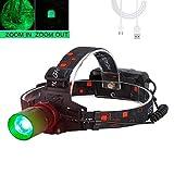 Lampe frontale avec lumière verte, Lampe frontale pour la chasse, 1000 lumens, zoomable pour l'astronomie, la vision nocturne, le camping(lumière Verte)
