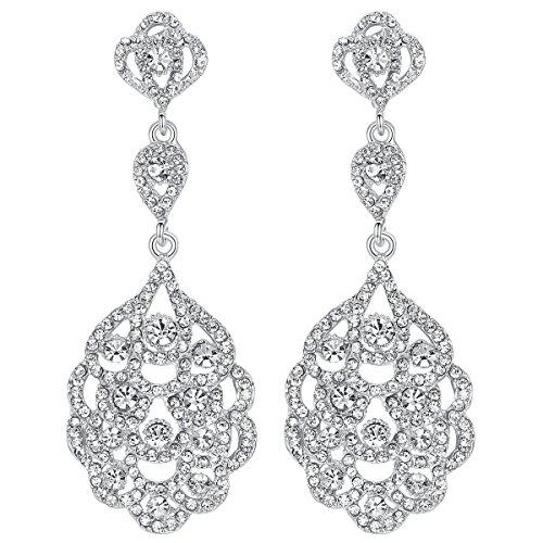 Mecresh - Pendientes para novias con cuentas de cristal de imitación.