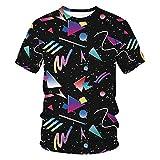 LUOYLYM-Triángulo De Impresión Digital Casual para Hombres Y Mujeres Camiseta Holgada De Gran...