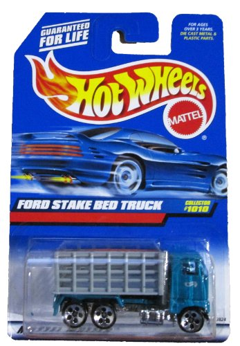 Mattel Hot Wheels 1999 1:64 Scale Gray & Green Ford Stake bed Truck Die Cast Car Collector #1010