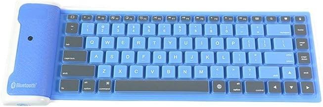 NYKKOLA Teclado de Silicona Plegable inalámbrico Bluetooth Teclado Impermeable Teclado Enrollable para PC Portátil Azul