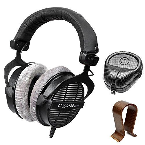 beyerdynamic Professional Acoustically Open Headphones 250 Ohms (DT-990-PRO-250) with Slappa HardBody PRO Full Sized Headphone Case Black & Universal Wood Headphone Stand