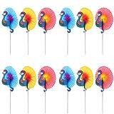 BELLE VOUS Pavo Real Cocteles (75 Piezas) - 3 Colores Palitos de Madera Decorativos Pavo Real 15.3cm para Aperitivos, Cocteles, Frutas, Cupcakes, Postres, Decoración de Bodas, Cumpleaños y Fiestas