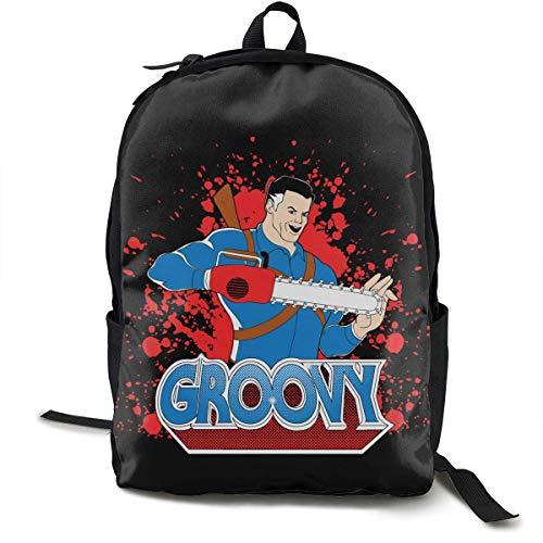 ZYWL Groovy! - Ash vs Evil Dead Casual Leinwand Rucksack Schule Reisetasche Laptoptasche
