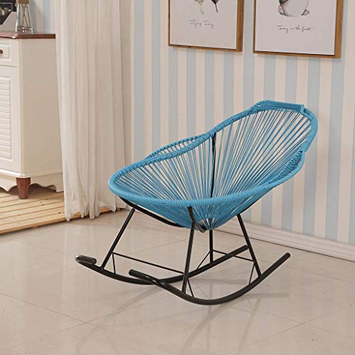 Casual and comfortable Garden Chair Rocking Chair Relaxing Chair Wicker Armchair, Chair Rocking Chair In Retro Design bull; Cover Made Of 4mm Mesh bull; Powder Coated Steel Frame