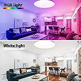 Deckenlampe RGBW, BIGHOUSE 18W 1600lm LED Deckenleuchte Dimmbar, Ersatz für 100W, Farbe und Helligkeit Einstellbar Fernbedienung, IP44 Wasserfest für Badezimmer, Wohnzimmer, Balkon, Flur Küche, Ø30cm