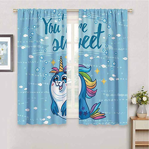 Unicorn Outdoor Curtain, Curtains 45 inch Length Youre Sweet Quote with Baby Penguin Shaped Unicorn and Fish in The Sea Decor Bathroom Curtain Blue W63 x L45 Inch