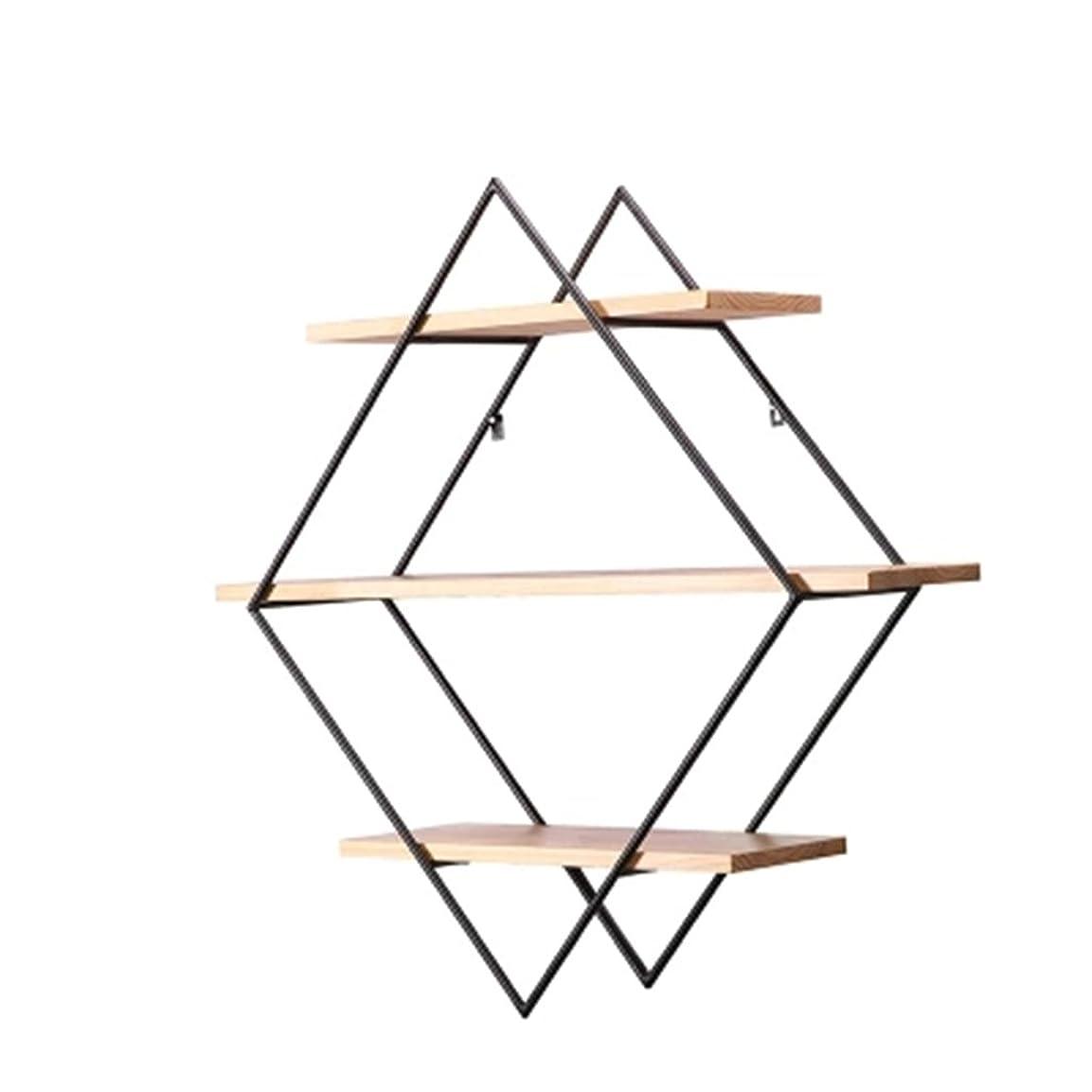 スクレーパー哲学者買う壁棚ラック、錬鉄の木製の壁のダイヤモンドの仕切り板フレーム、居間の創造的な背景の壁の装飾の表示、70 * 70cm ウォールマウント (Size : 80*80cm)