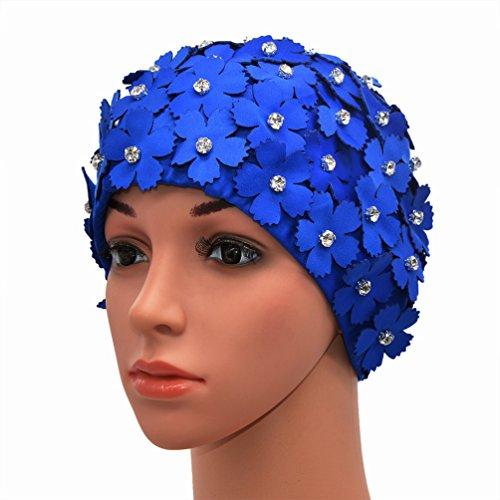 Medifier Handbuch Strass Floral Blütenblatt Retro Stil Schwimmen Gap Badekappen für Frauen Blau