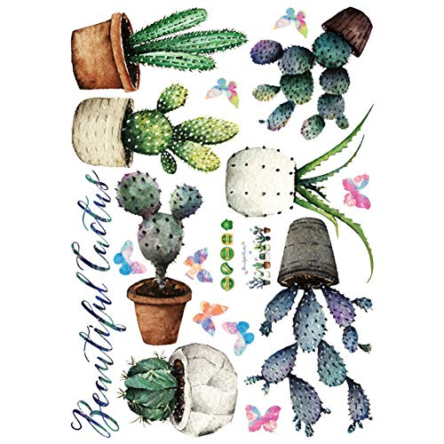 DAIZHJ Cactus Potted Muursticker Kast Vensterbank Stickers Kamer muur sticker behang Home Decor Verwijderbare Muursticker