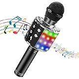 Tesoky Microphone sans Fil Cadeau Bluetooth LED Lampe Coloré Dynamique,4 en 1 Portable karaoké Bluetooth Micro Enfant 2 Haut-Parleur Intégrépour Fête Familial,Noëlet,Compatible avec Android/iOS/PC/Pad