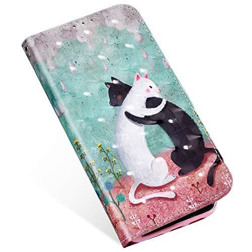 MoreChioce kompatibel mit Huawei Mate 20 Lite Hülle,kompatibel mit Huawei Maimang 7 Wallet Case Glitzer,Bunt 3D Bling Glanz Schwarz Weiß Katze Klapphülle Flip Ledertasche Handyhülle Magnetverschluß