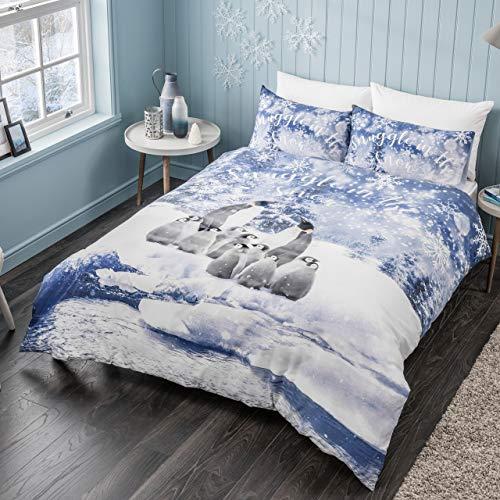 Sleepdown Winter Penguin Blue Snowflake Soft Duvet Cover Quilt Bedding Set With Pillowcases - Double (200cm x 200cm)