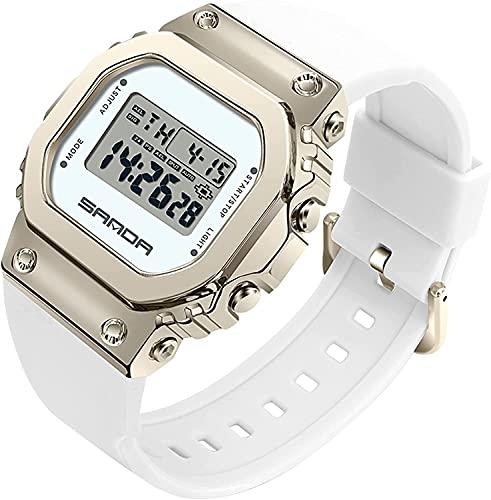 QHG Luz LED Relojes Digitales para Mujeres Hombres Dial Cuadrado Impermeable Deportes Unisex Casual Relojes electrónicos Vestido Deportivo Reloj de Pulsera (Color : Platinum)