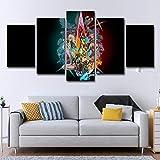 BINGFENG Arte de Pared de Lienzo no Tejido Xeno-Blade 2 Impresiones de Lienzo de Anime Imagen enmarcada Obra de Arte Pintura Imagen Foto decoración del hogar 5 Piezas Framed-M
