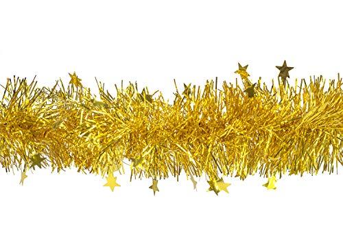 Creativery Butterfly Weihnachtsgirlande Lametta mit Sternen 8cm x 3 Meter Lamettagirlande Baumgirlande Christbaumdeko (Gold)