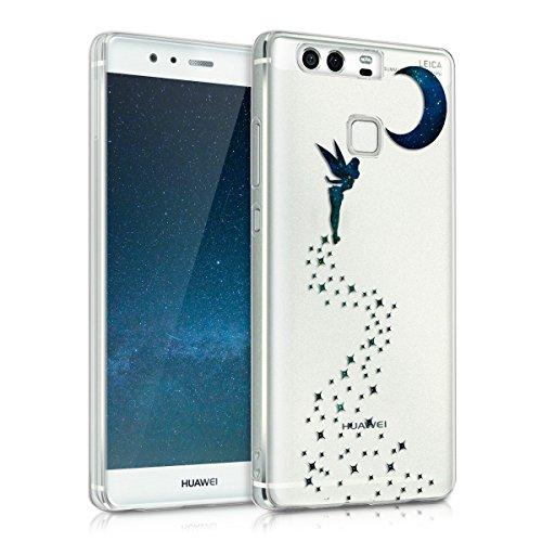 kwmobile Huawei P9 Cover - Custodia in Silicone TPU per Huawei P9 - Backcover Cellulare Blu Scuro/Petrolio/Trasparente