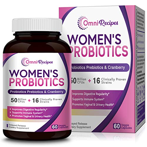 OmniRecipes Probiotic for Women, 60 Caps 50 Billion CFU 16 Strains, with Organic Prebiotics Cranberry for Digestive Immune Vaginal & Urinary Health, Shelf Stable, Delayed Release, No Soy Gluten Dairy